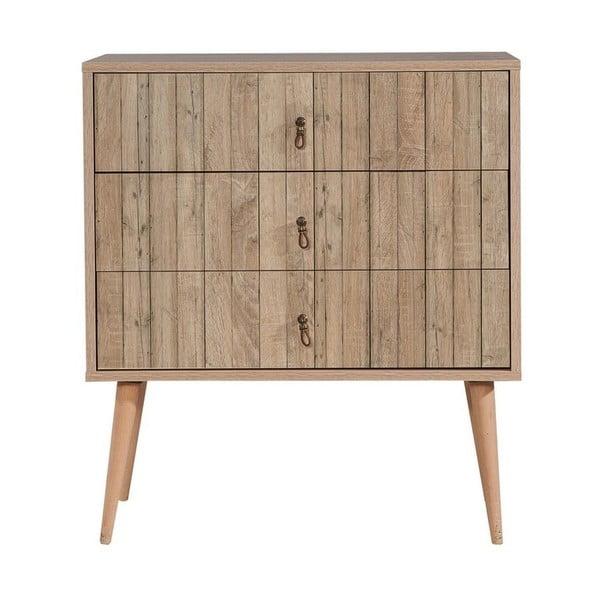 Dřevěná komoda se 3 šuplíky Kasiani Stripes