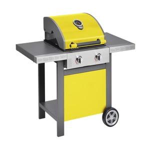 Žlutý plynový gril se 2 samostatně ovladatelnými hořáky a teploměrem Jamie Oliver BBQ
