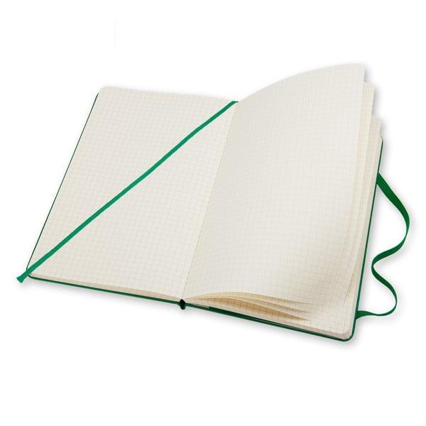 Zápisník Moleskine Hard 21x13 cm, zelený + čtverečkované stránky