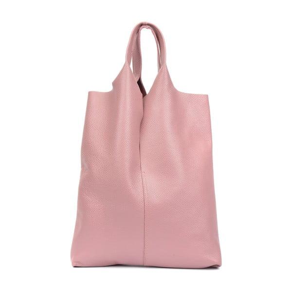 Svetloružová kožená taška na nákup Isabella Rhea