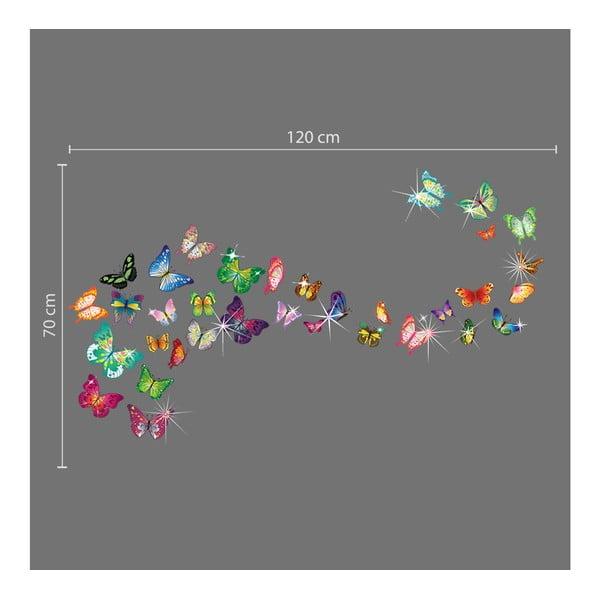 Samolepka na stěnu Hejno barevných motýlků se Swarovski kamínky
