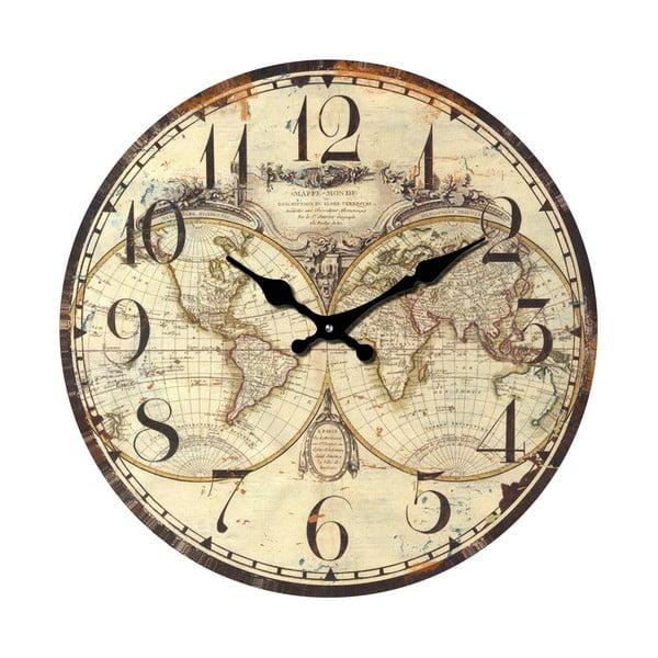 Skleněné hodiny Svět, 34 cm