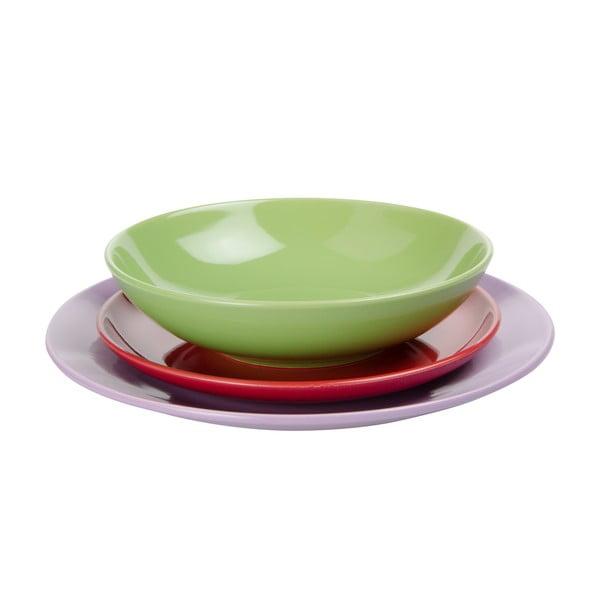18dílná sada talířů Kaleidos, zeleno-fialovo-červená
