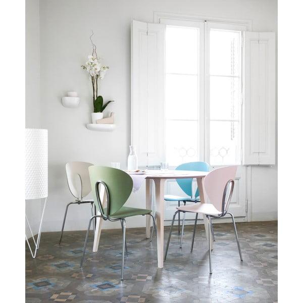 Bílá židle s bílými chromovanými nohami Stua Globus
