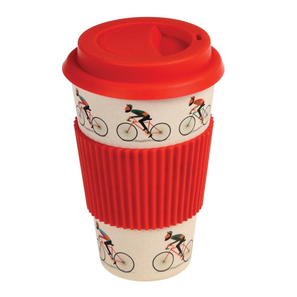 Bambusový cestovní hrnek s červenými detaily Rex London Le Bicycle, 400 ml