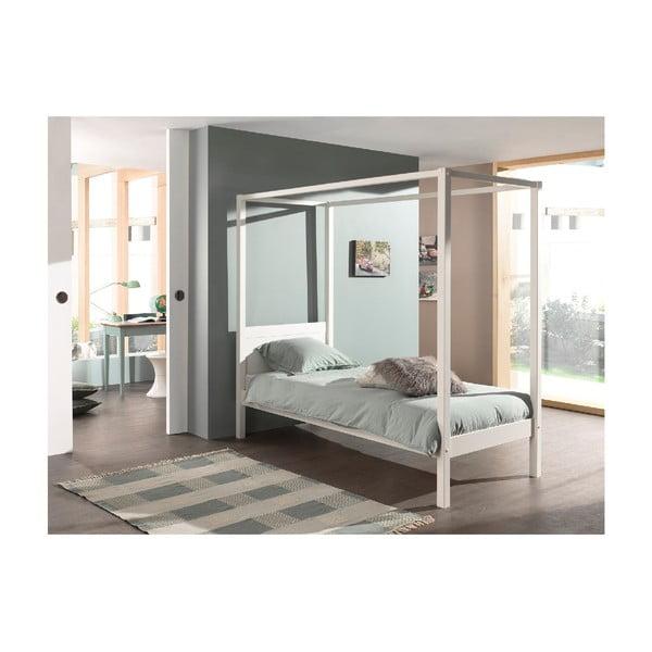 Białe łóżko dziecięce Vipack Pino Canopy, 90x200 cm