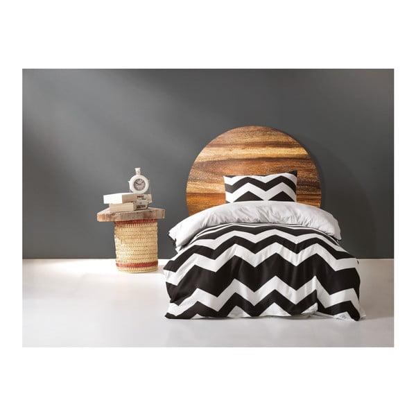 Set lenjerie și cearșaf din bumbac pentru pat single James, 160 x 220 cm