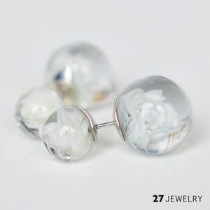 Bílé oboustranné naušnice ze skla Enamor