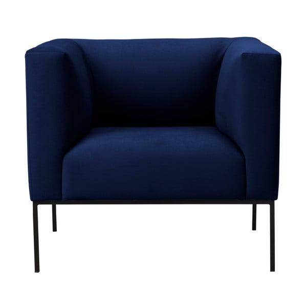 Tmavě modré sametové křeslo Windsor & Co Sofas Neptune
