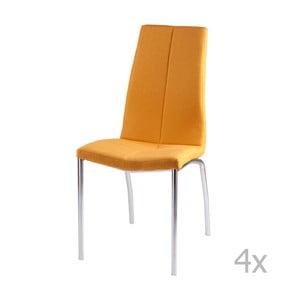 Sada 4 žlutých jídelních židlí sømcasa Carla