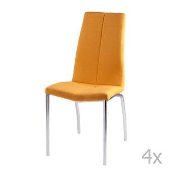 Set 4 scaune sømcasa Carla, galben