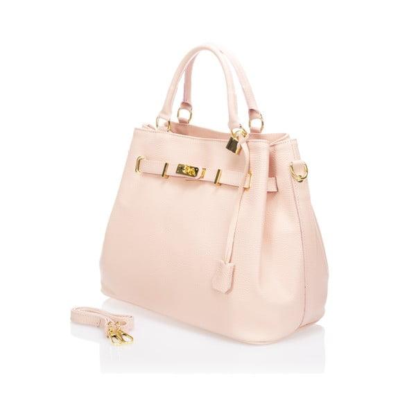 Růžová kožená kabelka Massimo Castelli Bibisa