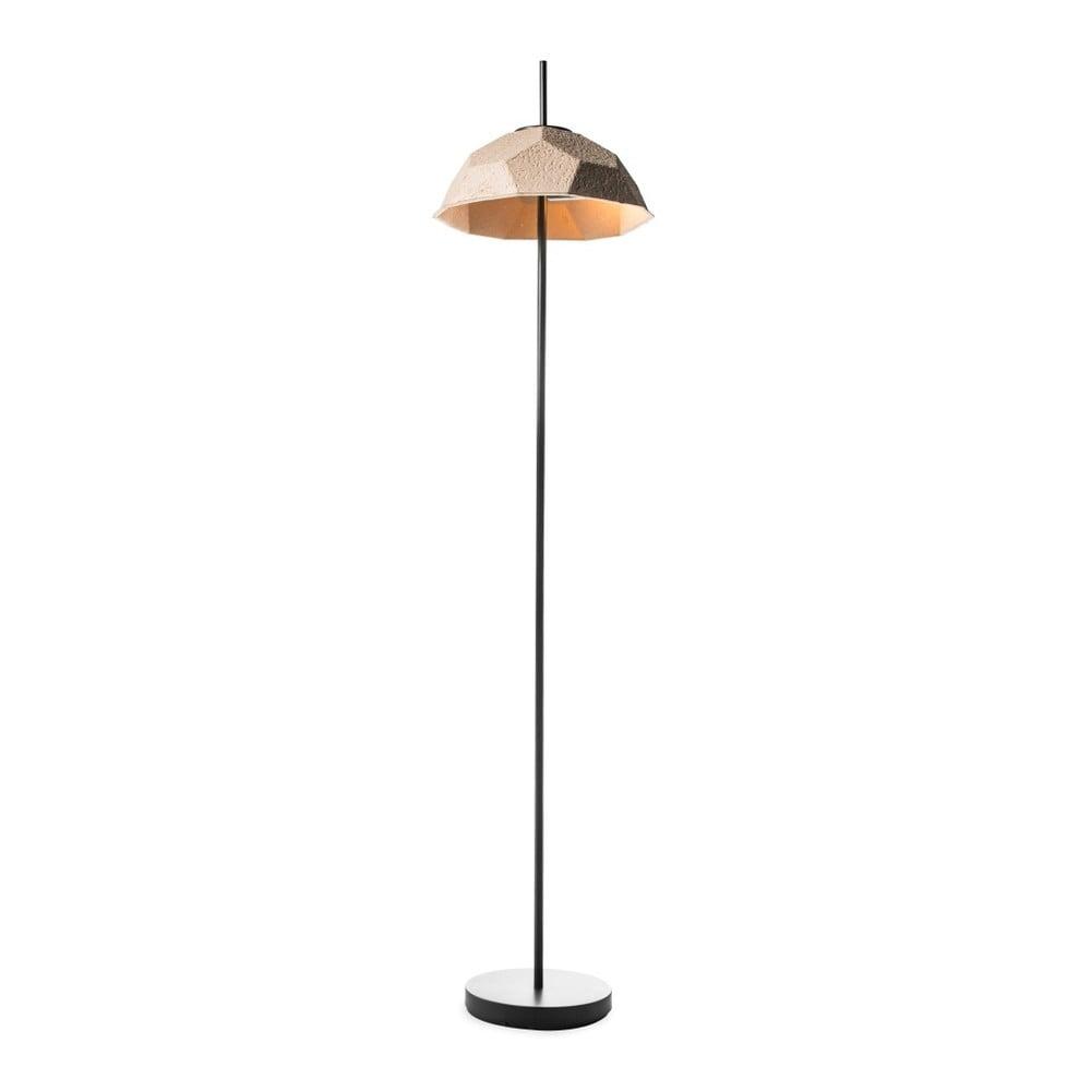 Hnědošedá stojací lampa se stínidlem z recyklovaného papíru Design Twist Mosen