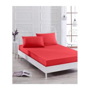 Set cearșaf elastic și față de pernă Basso Rojo, 100 x 200 cm de la EnLora Home