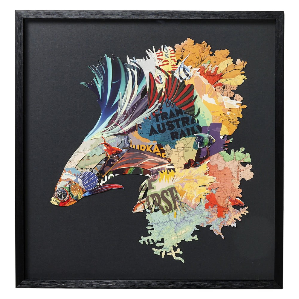 Nástěnný obraz v rámu Kare Design Betta Fish Colore Left 65 x 65 cm