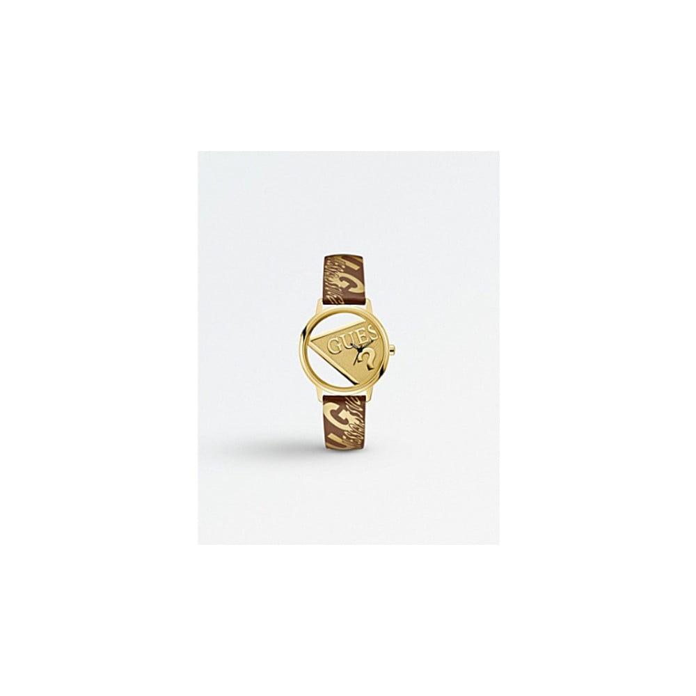6dd35b2fa Dámské hodinky s hnědým páskem z pravé kůže Guess V1009M2