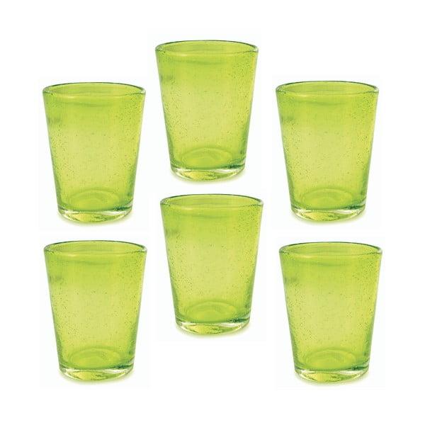 Sada 6 zelených sklenic Villa d'Este Cancun, 330ml
