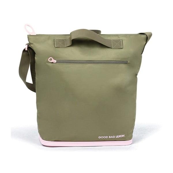 Nákupní taška Lexon Good s gumovou podrážkou, zeleno-růžová
