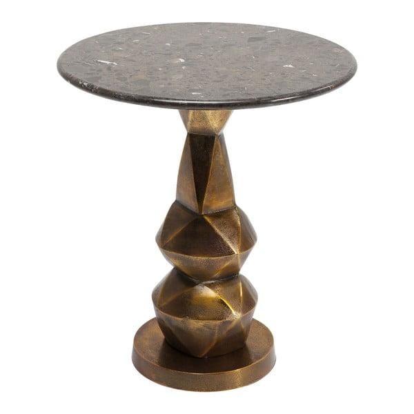 Connect tárolóasztal természetes márványlappal, ⌀ 46 cm - Kare Design