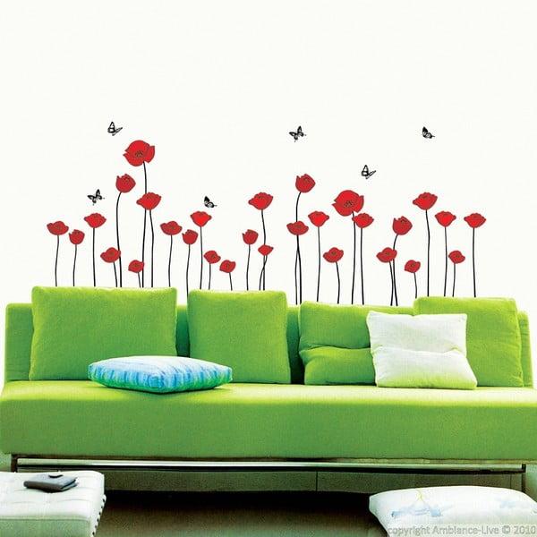 Sada nástěnných samolepek Ambiance Red Poppy Flowers