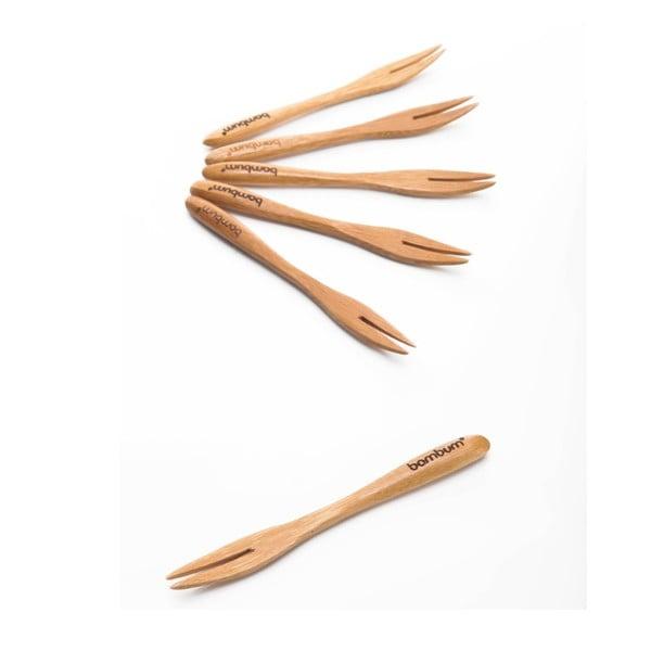 Komplet 6 widelczyków bambusowych do przekąsek Bambum Salsa