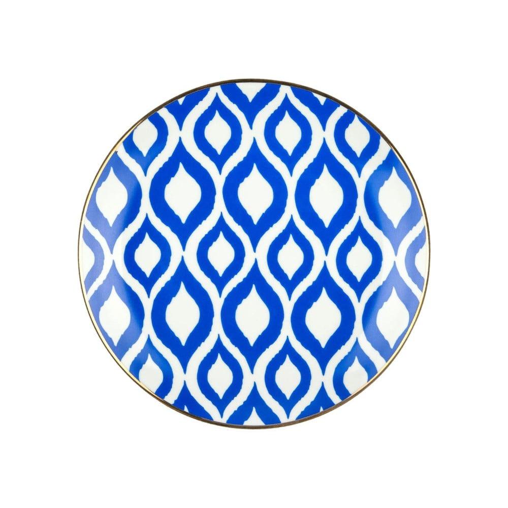 Modrobílý porcelánový talíř Vivas Ikat, Ø23cm