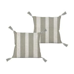 Polštář Linen Couture Borlas Grey Stripes, 45 x 45 cm