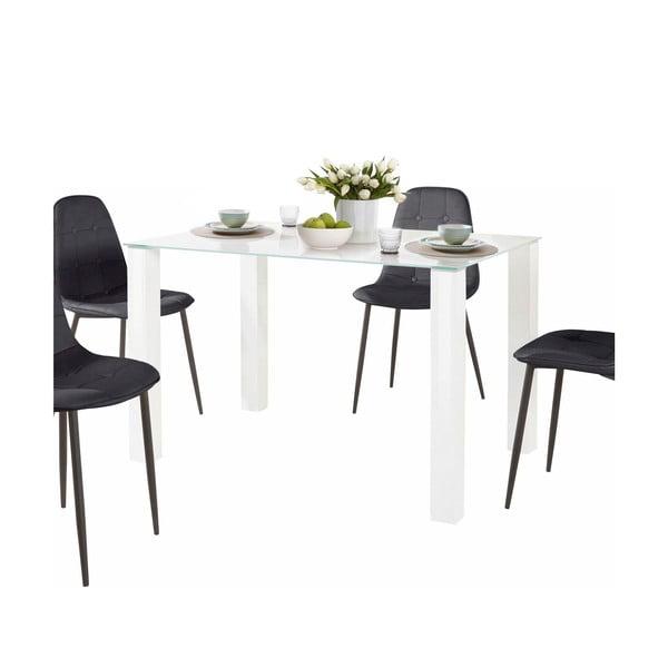 Sada jídelního stolu a 4 černých židlí Støraa Dantel, délka stolu 80 cm