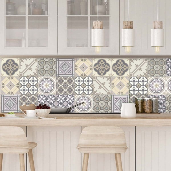 Set 9 autocolante de perete Ambiance Decals Country Tiles, 10 x 10 cm