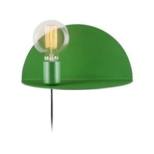 Zelená nástěnná lampa s poličkou Shelfie, výška 15 cm