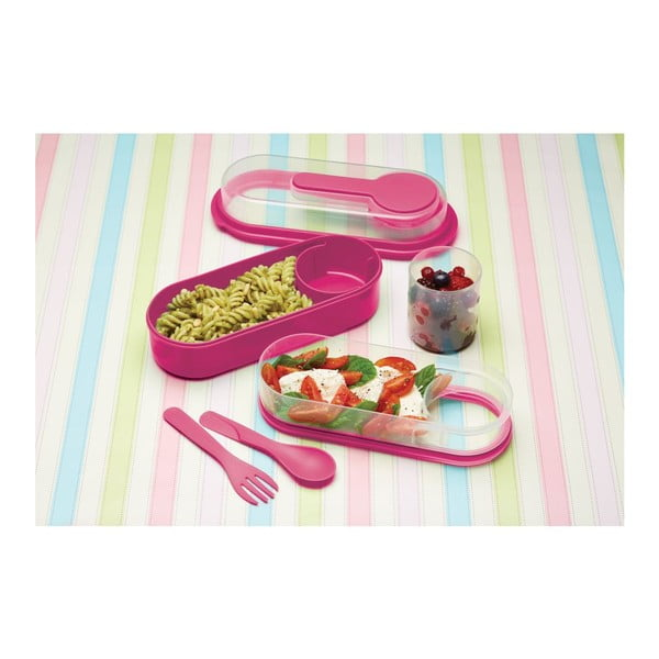 Růžový svačinový box KitchenCraft Coolmovers Rectangular
