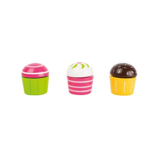 Sada 3 detských drevených hračiek v tvare cupcakov Legler Cupcakes