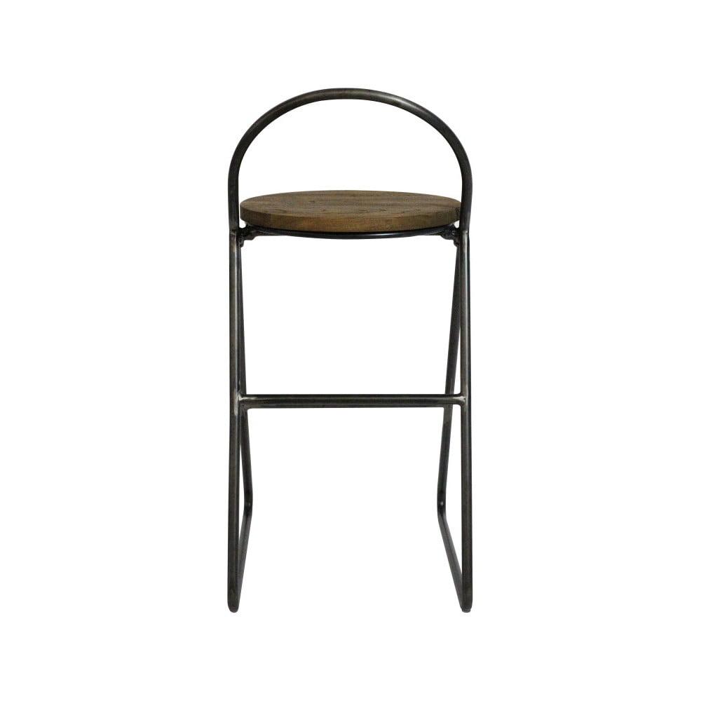 Barová stolička s jilmovým dřevem a černou kovovou konstrukcí Red Cartel Duke, výška 89cm