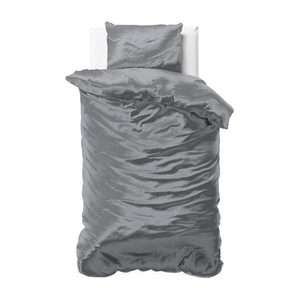 Tmavě šedé povlečení ze saténového mikroperkálu na jednolůžko Sleeptime, 140x220cm