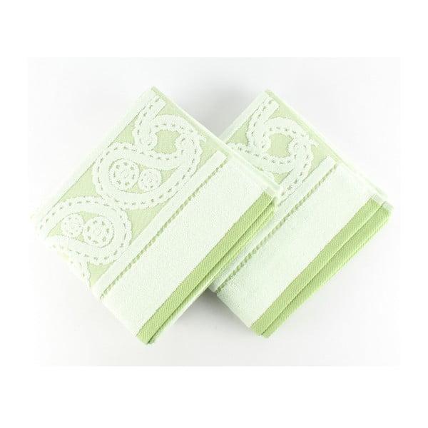 Sada 2 zelených ručníků Hurrem, 50x90 cm