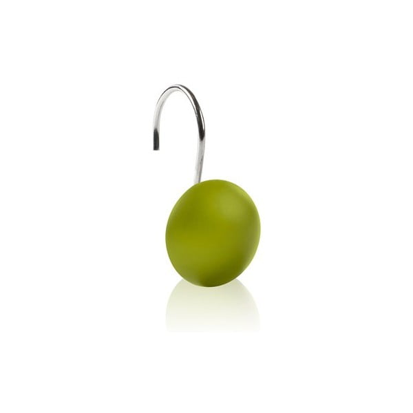 Háčky na sprchový závěs Ring Dot lime, 12 ks