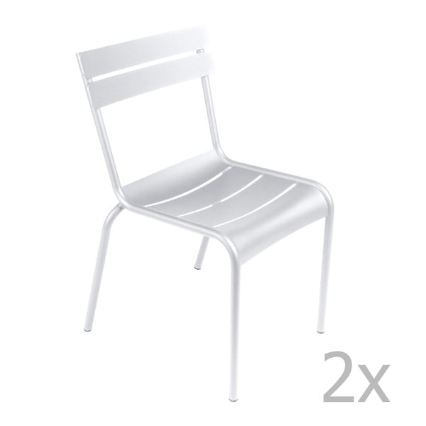 Sada 2 bílých židlí Fermob Luxembourg