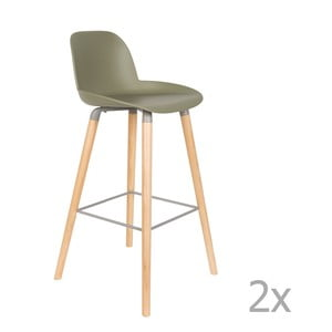 Sada 2 zelených barových židlí Zuiver Albert Kuip, výška sedu 75cm