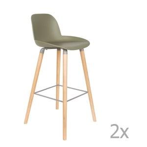 Set 2 scaune bar Zuiver Albert Kuip, înălțime scaun 75cm, verde