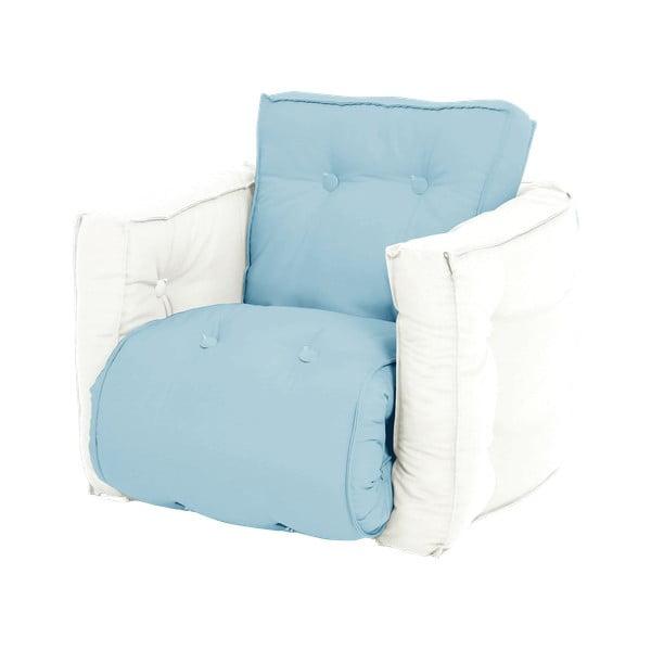 Fotoliu extensibil pentru copii Karup Design Mini Dice Blue, 40 x 100 cm, albastru deschis