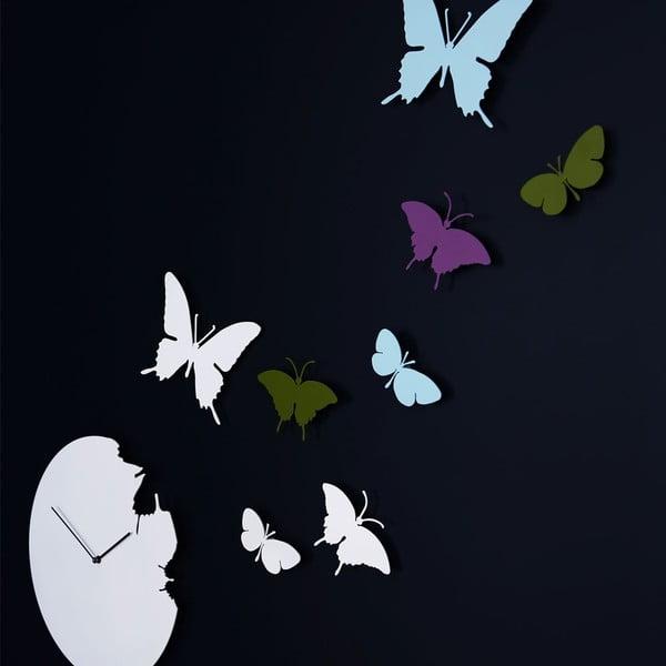 Designové hodiny Butterfly Silver, 40 cm