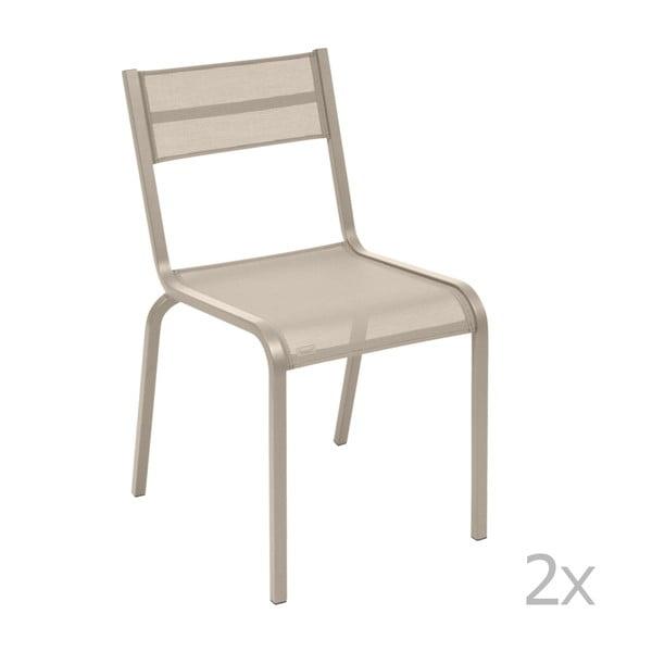 Komplet 2 beżowych metalowych krzeseł ogrodowych Fermob Oléron