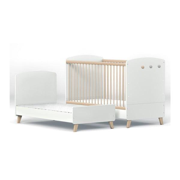 Pat variabil pentru copii cu bară protecție FAKTUM Colette, 70 x 140 cm