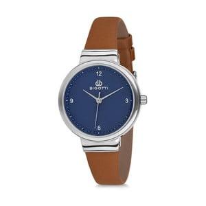 Dámské hodinky s hnědým koženým řemínkem a modrým ciferníkem Bigotti Milano Sea