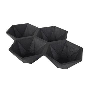 Tavă cu 4 compartimente Zuiver Hexagon, negru imagine