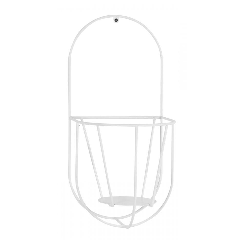 Bílý nástěnný držák na květináče OK Design, výška46cm