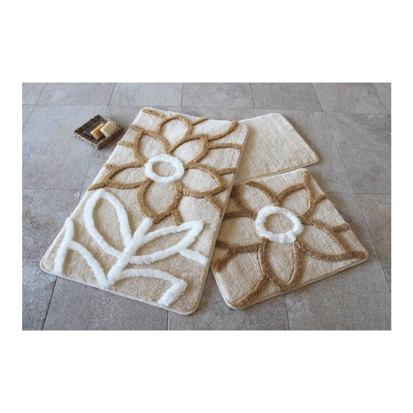 Set 3 covorașe de baie Confetti Bathmats Naturel