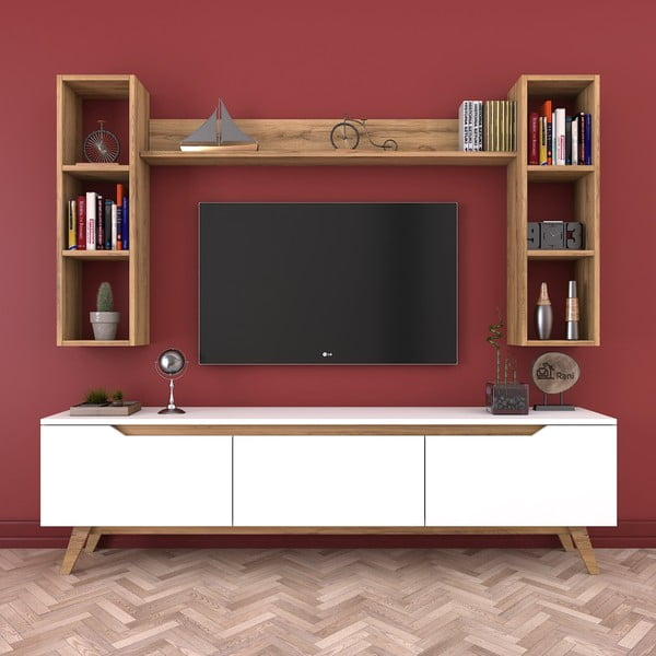 Zestaw białej szafki pod TV i 3 półek Wren