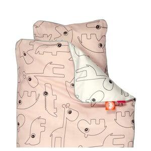 Lenjerie de pat pentru copii Done by Deer Contour, 80 x 100 cm, roz