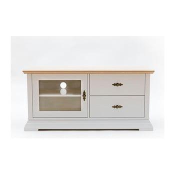 Comodă TV cu 2 sertare și ușă din sticlă WE47 Family Katrin, alb-natural de la We47